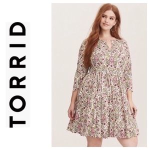 Torrid Ivory Plus Size Floral Skater Midi Dress